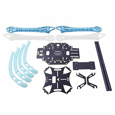 F8 S500 PCB Carbon Fiber 4-Axis Frame Kit Blue&White with Tall Landing Gear Skid