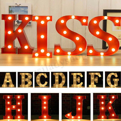 LED 9'' Marquee Letter Heart Lights Vintage Circus Style Alphabet Light A-Z Love