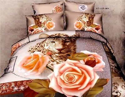 100% Cotton 3D Bedding Set Duvet Cover Panther & Roses Christmas Gift Present