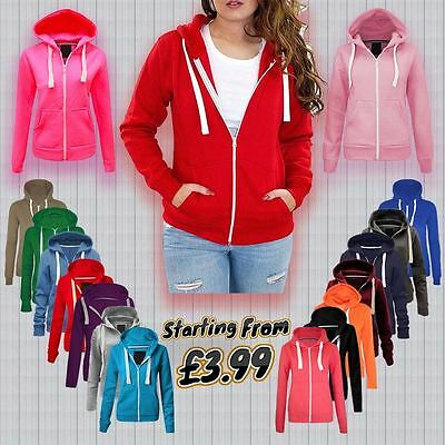 Womens Ladies Plain Colour Hoody Hoodie Sweatshirt Zipper Small Size (UK 8)