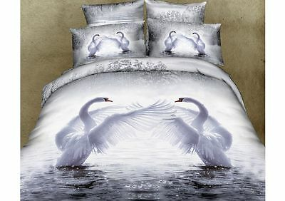 100% Cotton 3D Bedding Set King Size Duvet Cover & 2 Pillowcases Swans Design