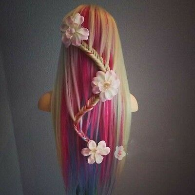 """18"""" Salon Synthetic Corn Colors Hair Hairdressing Training Hair Mannequin+Clamp"""