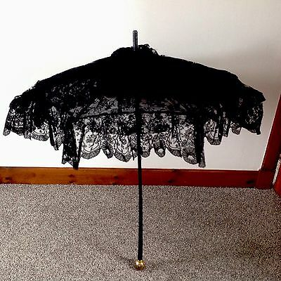 Beautiful Antique Victorian Carved Black Ebony & Lace Frilled Parasol - Gothic