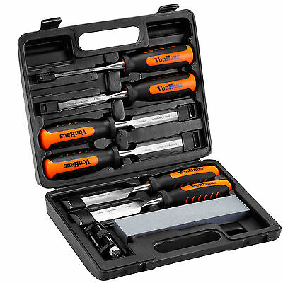 VonHaus 8 Piece Wood Carving Chisel Carpenters Woodworking Tool Set