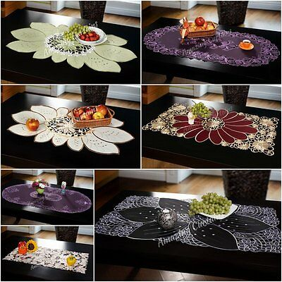 Table Runners Tablecloths 60 x120cm Table Home Decor Rectangle Oval Embroidered