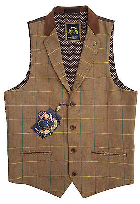 Mens Marc Darcy Smart Tweed Check Waistcoat Style Dx7 With Collar - Oak