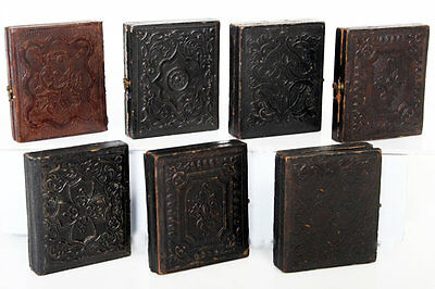Seven - Antique ninth Plate Ambrotype Images In Embossed Leather Cases