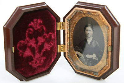 Brown octagonal thermoplastic Union Case Ninth Plate Ambrotype Image photo lady