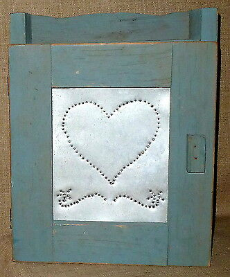 PRIM ANTIQUE~PAINTED 2 SHELF WOOD CABINET w/ HAND PUNCHED TIN DOOR~COLONIAL BLUE