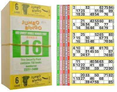 1500 Books 6 Page (Games) 6 To View (Strips Of) Jumbo Bingo Tickets Sheet