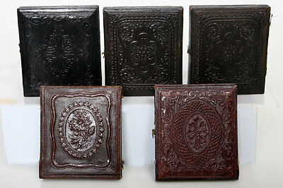 5 - Five Antique sixth Plate Ambrotype photos Embossed Leather Cases