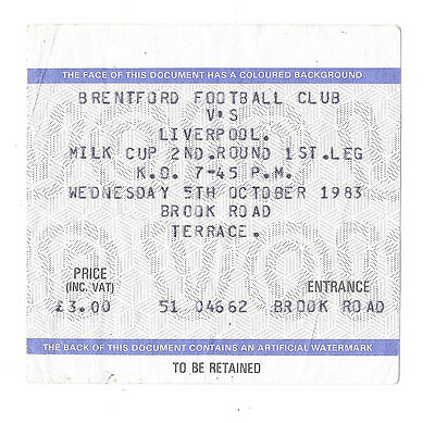 Brentford v Liverpool (Winners), 1983/84 - League Cup 2nd Round Match Ticket.