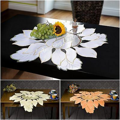 Stunning Table Runners Tablecloths White Orange Yellow Round 3 Sizes