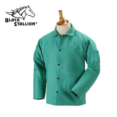 "Revco 9 oz FR Flame Resistant 30"" Green Cotton Welding Jacket Size Large"