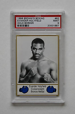 1986 Browns Boxing Evander Holyfield Gold Rookie #62 Graded Psa 9 Mint Rare