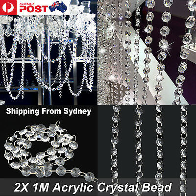 2pcs of 1M Acrylic Crystal Bead Wedding Hanging Drop Chandelier Curtain Wedding