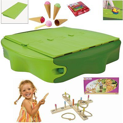 Sandpit with Cover plates+Case red v.Big+Ice cream cone set+Ringtoss game NIP