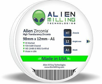 Alien Dental Zirconia Block Puck Disk 98mm x 12mm Pre-Shaded A1 Made in USA