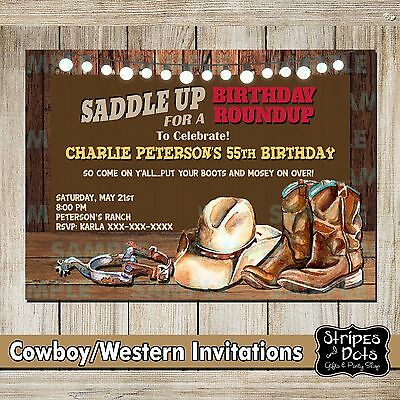 Western Invitations-Cowboy's Party-Western Party-Cowboy Invitations-Boots