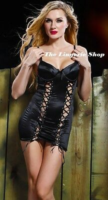 Black Babydoll Chemise with Lace Up Corset Front Padded Underwire Bust 10-12