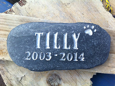 Loved pet Memorial stone, cat, dog, personalised plaque, grave marker, plus date