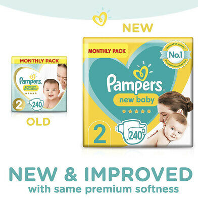 Pampers Size 2 Nappies Baby Premium Protection Monthly Saving Pack 240 Nappies