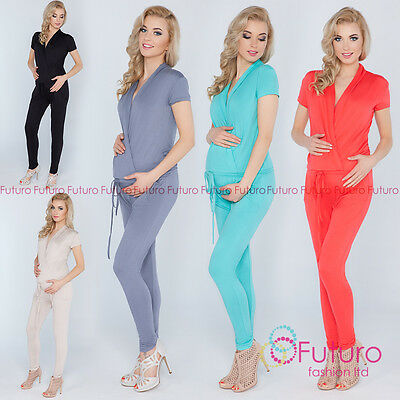 Ladies Maternity Jumpsuit With Pockets V Neck Wrap Playsuit Plus Sizes 8-18 1080