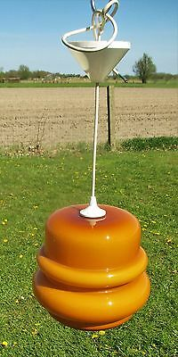 Retro Vintage Amber Orange Opaline cased Glass Light Pendant Shade Skyscraper