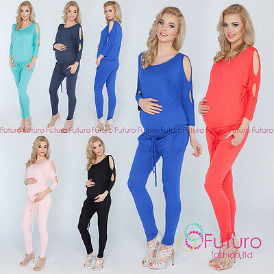 Ladies Maternity Jumpsuit With Pockets Open 3/4 Sleeve Playsuit Sizes 8-14 1081