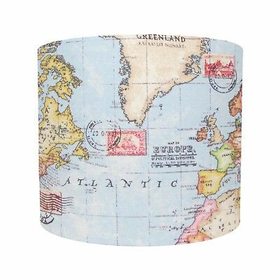 Lampshade World Map Atlas Blue Earth Nautical Fabric Geography Lightshade Boys