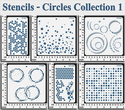 Stencils Templates Masks for Scrapooking, Cardmaking - Circles Collection 1
