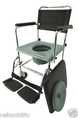 Z-Tec Quality Mobile Commode Chair Padded Seat Swingaway Arms Removable Footrest