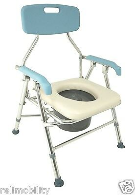 Folding Aluminium Height Adjustable Commode Soft Lift Up Seat Removable Pail Lid