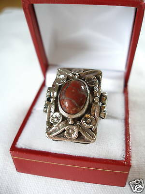 Red Turquoise Solitaire (13 mm)  900 Sterling Silver Ring