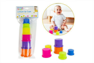 First Steps Pack Of 6 Bright Coloured Stack Up Tower Cups Learning Activity Toy