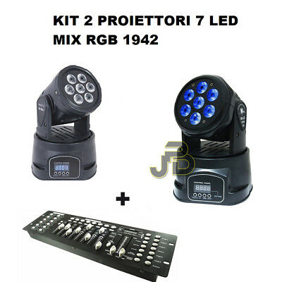 Kit X2 Proiettore Led Rgb Testa Mobile Rotante 7 Led Wash Dmx + Mixer Dmx Rgb