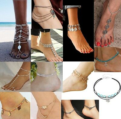 12 Designs Fashion Anklet Boho Beads Coins Pearl Bracelet Foot Toe Chain