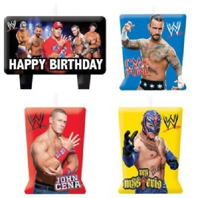 WWE Wrestling candles, perfect birthday party cake toppers, 4 set