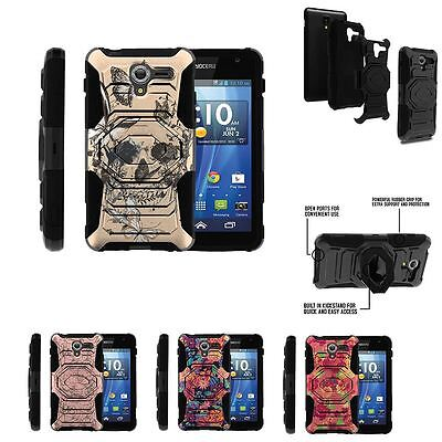 For Kyocera Hydro View C6742 Rugged Holster Clip Stand Case Beautiful Flowers