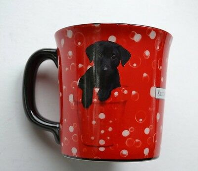 Black Lab Puppy in Red Flower Vase Cup Mug The Encore Group Keith Kimberlin EUC