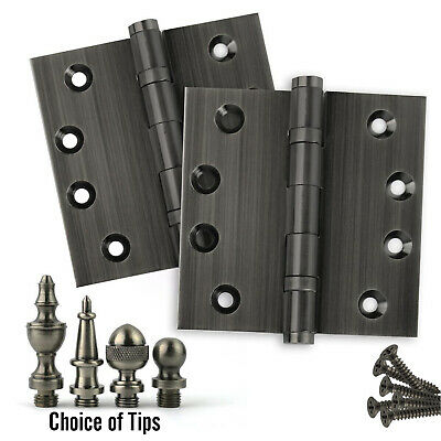 Door Hinges 4 x 4 Solid Brass Ball Bearing Pewter (US17A) With Tips - Set of 2