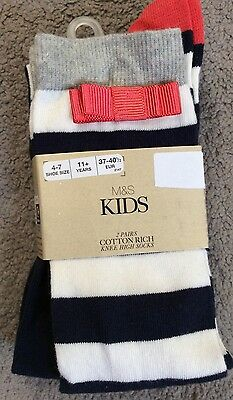 M&s 2 Pairs Knee Highs - Navy With Navy & White Stripe & Orange Bow- Bnwt