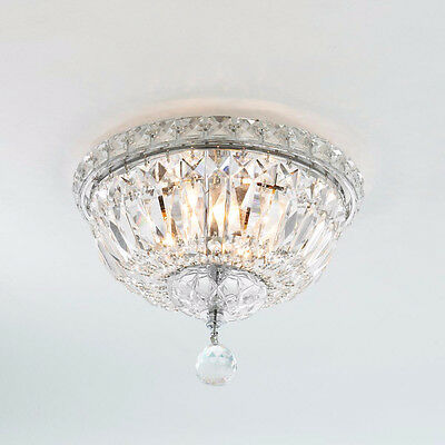 """US BRAND French Empire 4 Light Crystal Flush Mount Ceiling Light 10"""" Wide Small"""