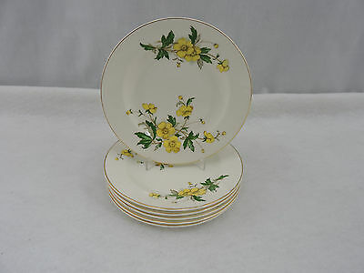 "Set of 6 Knowles Desert Plates 6"" Ivory China Buttercup Vintage Floral USA"
