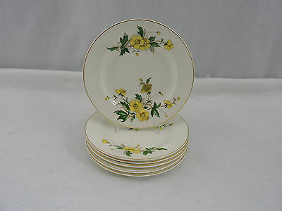 """Set of 6 Knowles Desert Plates 6"""" Ivory China Buttercup Vintage Floral USA"""