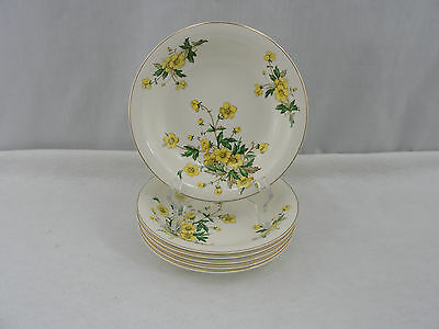 "Set of 6 Knowles Soup Bowls 7.75"" Ivory China Buttercup Vintage Floral USA"
