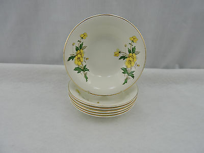 """Set of 6 Knowles Desert Bowls 5.37"""" Ivory China Buttercup Vintage Floral USA"""