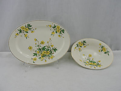 Knowles Oval Serving Platter & Bowl Ivory China Buttercup Vintage Floral USA