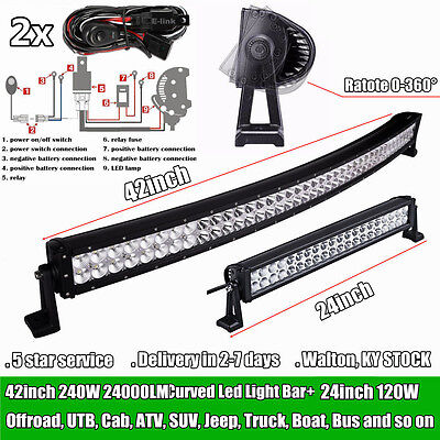 42inch 240W Curved LED Light Bar + 24inch 120W LED Work Light Bars Offroad Jeep