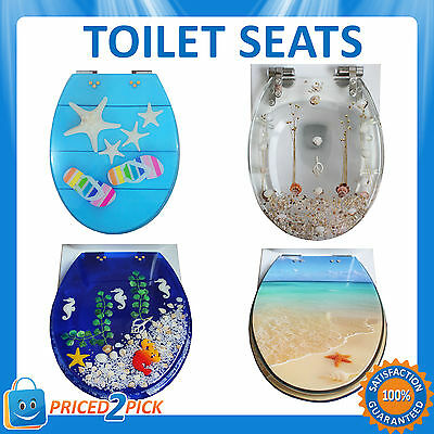 New WC Soft Close Silent Designer Ocean Beach Sea Themed Toilet Seat Cover Lid